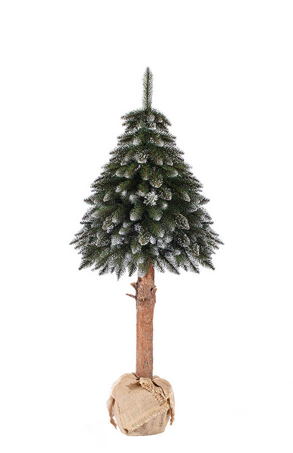 Künstlicher Weihnachtsbaum Fichte Naturstamm mit Schneeflocken