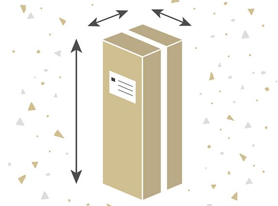 Wie groß ist die Kartonage, in der künstliche Weihnachtsbäume geliefert werden?