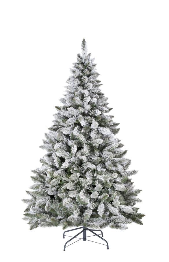 rbol de Navidad artificial Picea flocado con copos de nieve