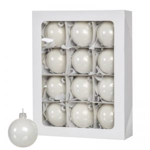 12 weiße Weihnachtskugeln 6cm