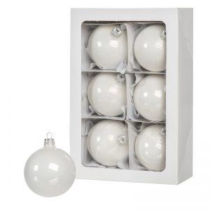 6 weiße Weihnachtskugeln 8cm