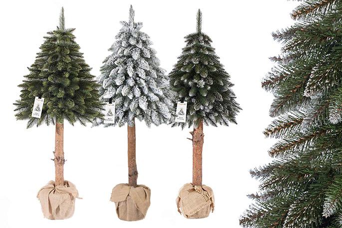 Künstlicher Tannenbaum Für Draußen.Künstlicher Weihnachtsbaum Fichte Mit Echtem Naturstamm Künstliche